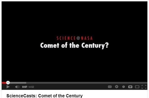 YouTube video by NASA on Comet ISON, C/2012 S1.
