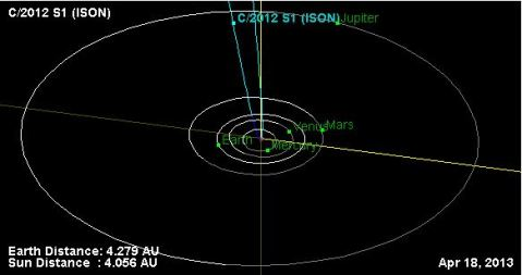 Position on April 18, 2013 per JPL database. Click to access JPL database.