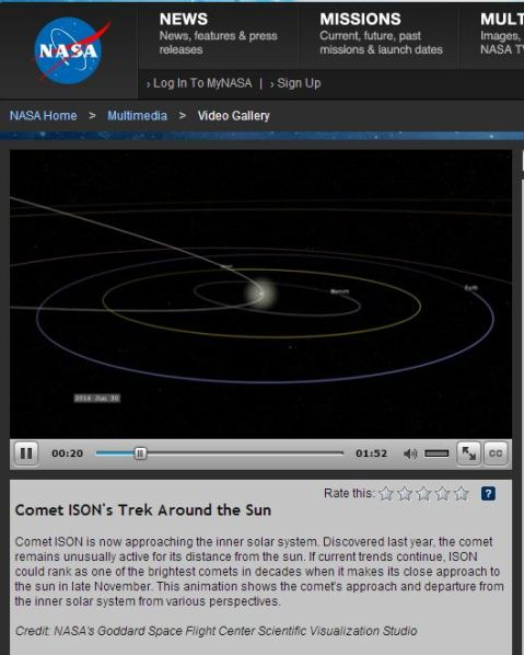 NASA's latest Comet ISON video. Click to access. A reader left this as a comment too a couple of days ago. Thanks.